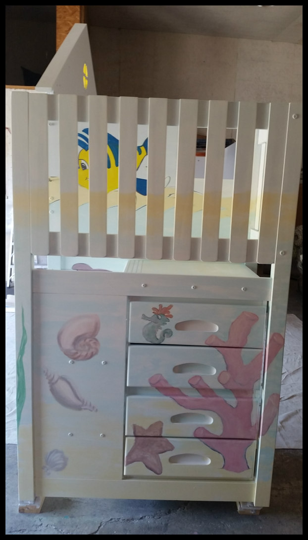 Hand-Painted Child's Bed Side View