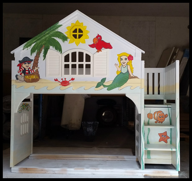 Hand-Painted Child's Bed